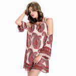 Cold Shoulder Chiffon Casual Short Summer Dress - RED