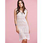 Stylish Round Neck Sleeveless Solid Color Cut Out Crochet Women's Dress - OFF-WHITE
