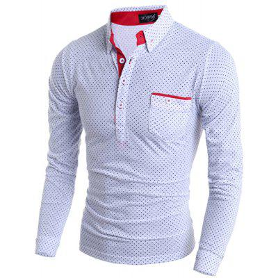 Polka Dot Print Long Sleeves Polo Shirt