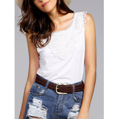 Fashion Round Neck Lace Spliced Tank Top For Women