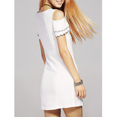 Round Neck Cold Shoulder Bowknot Embellished Dress