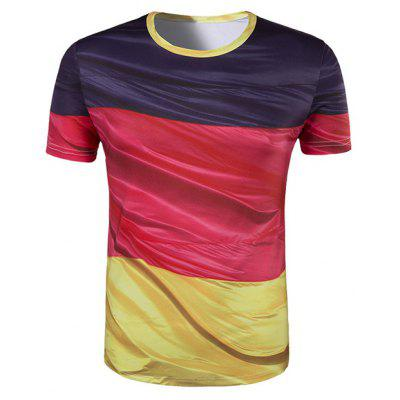 Slim Fit Round Collar Color Block Printing T-Shirt For Men