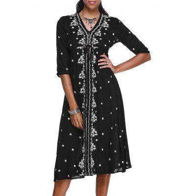 Ethnic Style V-Neck 3/4 Sleeve Floral Embroidery Midi Dress For Women