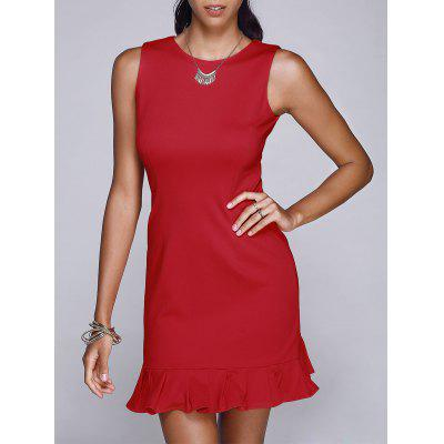 Fashion Round Neck Sleeveless Red Mermaid Dress For Women