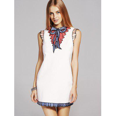 Fashion Stand Neck Sequins Bowknot Embroidery Dress For Women