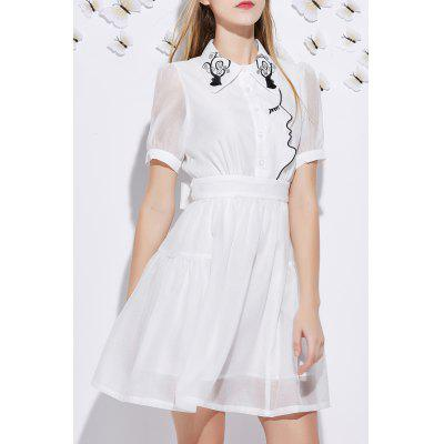 Short Sleeve Embroidered A Line Dress
