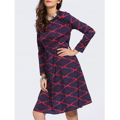 Fashion Round Neck Long Sleeve Argyle High Waisted Dress For Women