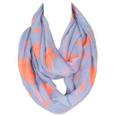 Stylish Various Five-Pointed Stars Print Voile Infinity Scarf For Girls