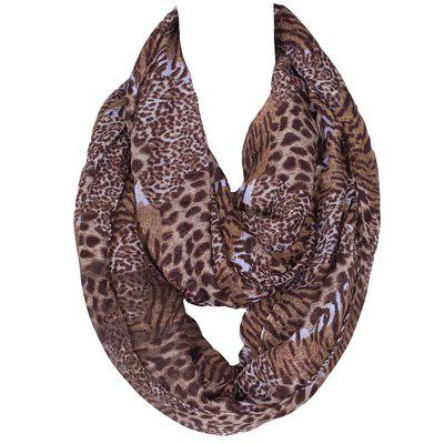 Stylish Wild Leopard and Tiger Stripe Print Voile Scarf For Women