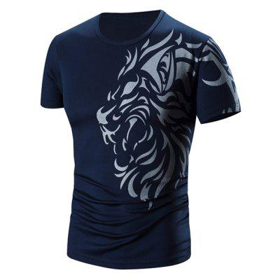 Round Neck Printed Short Sleeve T-Shirt For Men