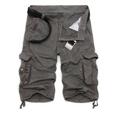 Buy DEEP GRAY 31 Zipper Fly Cotton Blends Multi-Pockets Straight Leg Cargo Shorts For Men for $20.59 in GearBest store