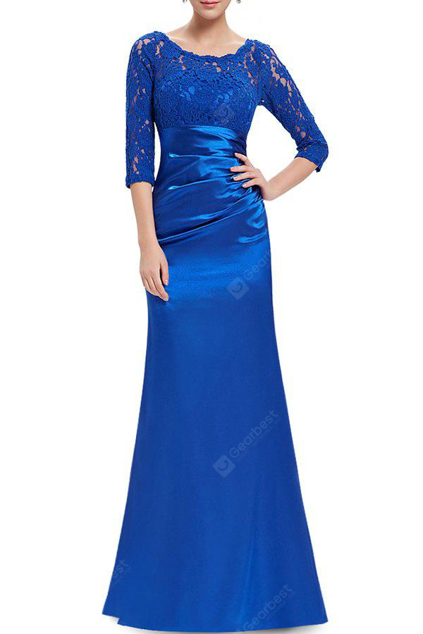 Lace Splicing Maxi Evening Gown Prom Dress