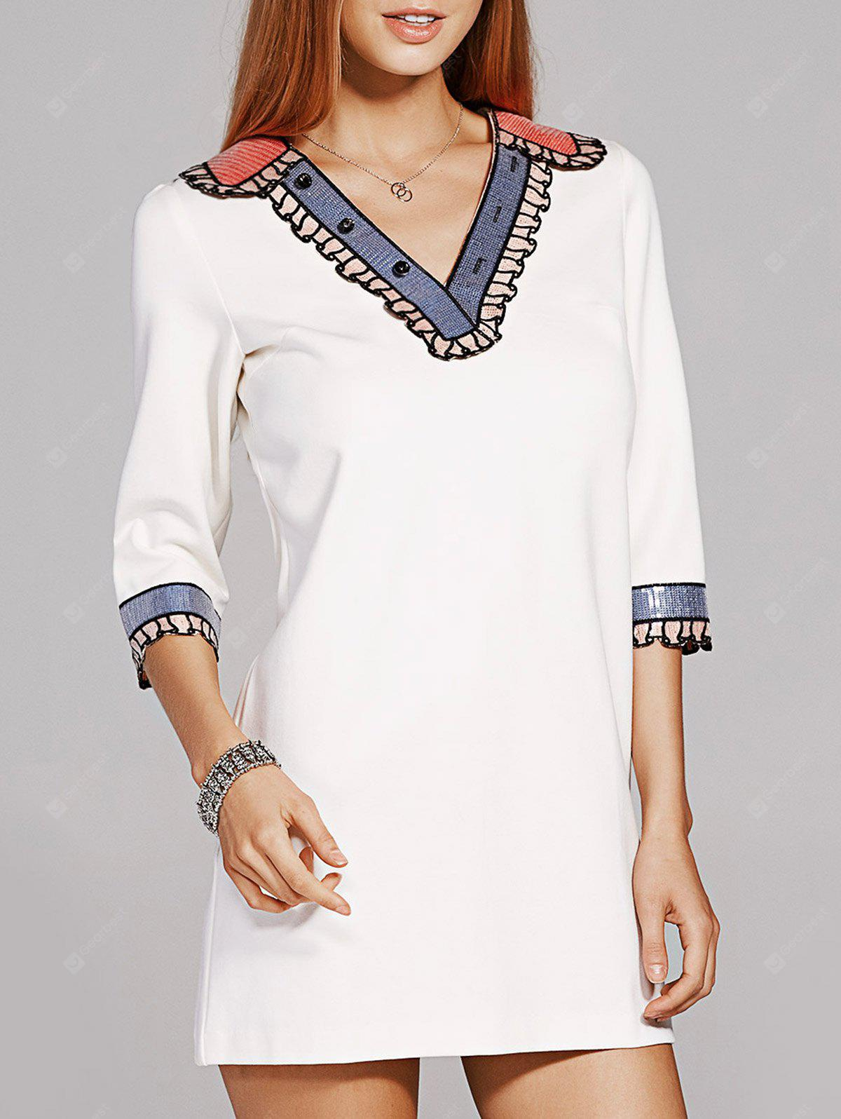 Fashion V-Neck 3/4 Sleeve Sequins Beading Dress For Women
