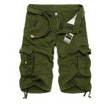 Zipper Fly Cotton Blends Multi-Pockets Straight Leg Cargo Shorts For Men - VERDE