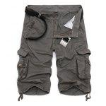 Zipper Fly Cotton Blends Multi-Pockets Straight Leg Cargo Shorts For Men - CINZA ESCURO