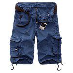 Zipper Fly Cotton Blends Multi-Pockets Straight Leg Cargo Shorts For Men - SAPPHIRE BLUE