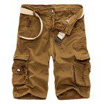 Zipper Fly Cotton Blends Multi-Pockets Straight Leg Cargo Shorts For Men - TERROSO