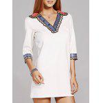 Fashion V-Neck 3/4 Sleeve Sequins Beading Dress For Women - WHITE