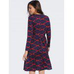 Fashion Round Neck Long Sleeve Argyle High Waisted Dress For Women - BLUE AND RED