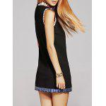 Buy Stylish Stand Neck Sequins Bowknot Embroidery Dress Women M BLACK