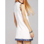 Fashion Stand Neck Sequins Bowknot Embroidery Dress For Women - WHITE
