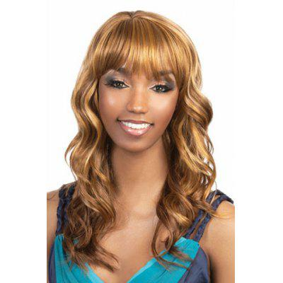 High Quality Synthetic Hair Full Bang Long Wavy Capless Women s Blonde Wig 186294001