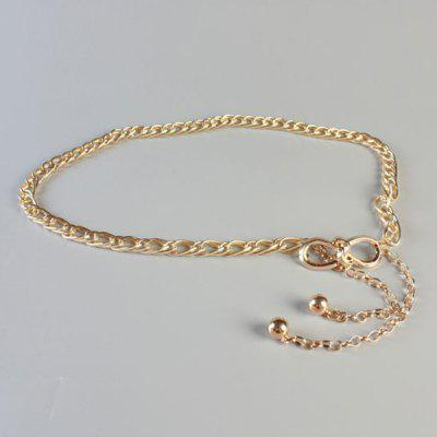 Chic Simple Golden Small Bow Double Waist Chains Belt For Women