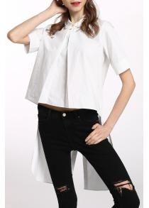Back Single Breasted Irregular Blouse