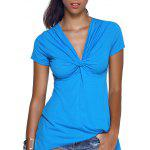 V-Neck Twist Asymmetric T-Shirt - BLUE