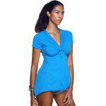 V-Neck Twist Asymmetric T-Shirt - BLU