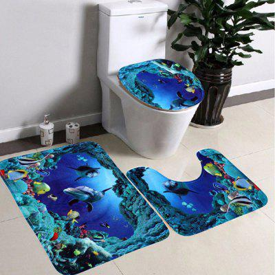 3Pcs/Set New Sea World Design Shark Cartoon Pedestal Lid Mat Bathroom Toilet Carpet
