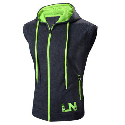 Hooded Zipper Design Waistcoat For Men