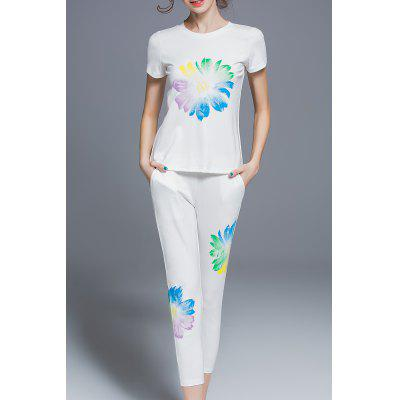 Floral Print Top and Pants Twinset