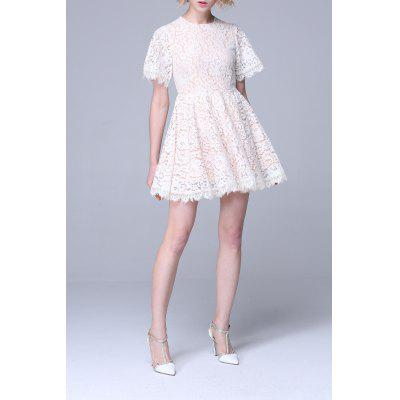 High Waisted Flare Lace Dress