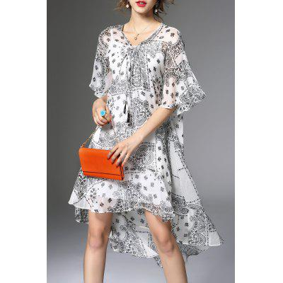 Printed Flounce Ruffles Dress and Cami Tank Top Suit