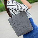 Simple Letters and Canvas Design Shoulder Bag For Women - GRAY
