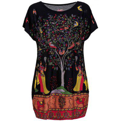Plus Size Scoop Neck Tree Print Figure and Animal Pattern Women's Dress