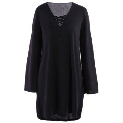 Loose Lace Up Long Sleeve Dress