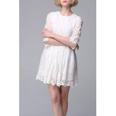 Solid Color Embroidered Hollow Out Dress