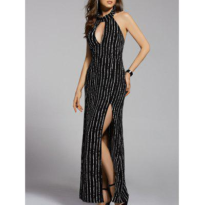 Fashion Stand Neck Cut Out Backless Striped Maxi Dress For Women