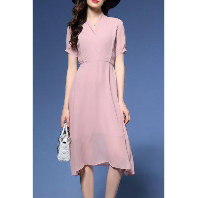 V Neck Solid Color Midi Dress