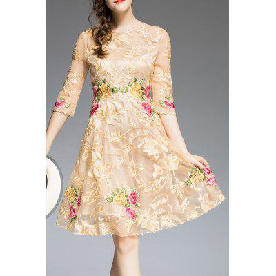 Floral Embroidered Knee Length A Line Dress