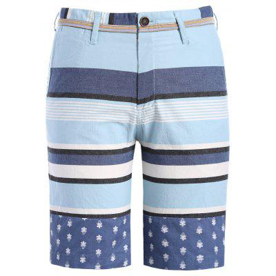 Classic Color Block Stripes Pattern Straight Leg Zipper Fly Shorts For Men