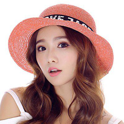 Chic Letter Printed Lace-Up Western Cowboy Style Folding Straw Hat For Women