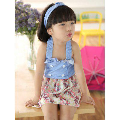 Cute Ruffled Buttoned Floral Girl's One Piece Swimwear