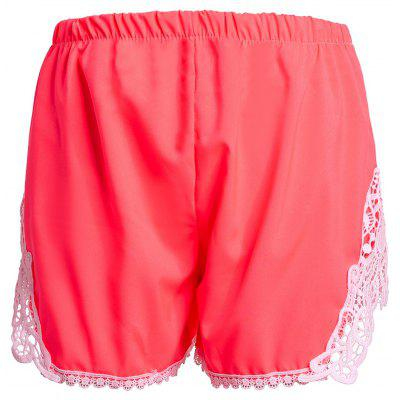 Elastic Waist Laced Shorts For Women