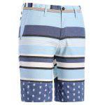 cheap Classic Color Block Stripes Pattern Straight Leg Zipper Fly Shorts For Men