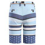 Classic Color Block Stripes Pattern Straight Leg Zipper Fly Shorts For Men deal