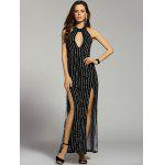 Fashion Stand Neck Cut Out Backless Striped Maxi Dress For Women - BLACK
