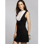 Buy Stylish Stand Neck Sleeveless Lace Spliced Dress Women M BLACK